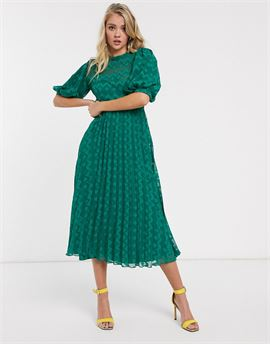high neck pleated chevron dobby midi dress with puff sleeve