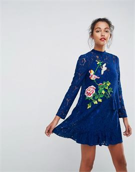 Lace Mini Shift Dress with Embroidery