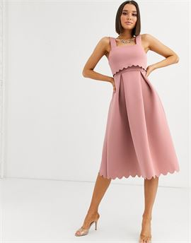 square neck scallop detail prom skater midi dress