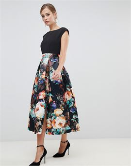2 in 1 contrast sateen prom midi dress in multi print