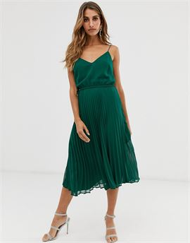 pleated cami midi dress with drawstring waist in forest green