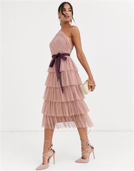 With Love one shoulder tiered midi dress in taupe