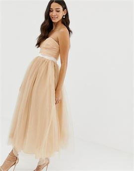 bandeau full prom midaxi dress in tan