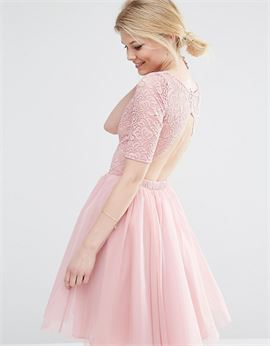 Lace Bodice Midi Prom Dress With Cut Out Detail