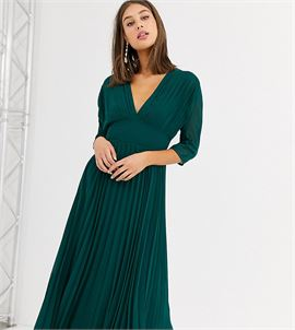 ASOS DESIGN Tall pleated midi dress with batwing sleeves