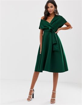 fallen shoulder midi prom dress with tie detail in bottle green