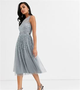 bridesmaid midi dress with scattered embellishment in dark grey