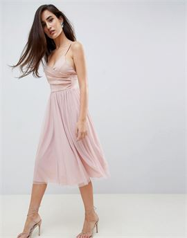 scuba cami wrap tulle midi prom dress