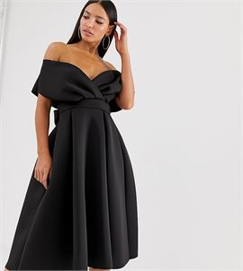 ASOS DESIGN Tall fallen shoulder midi prom dress with tie detail