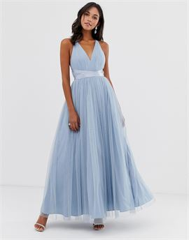 Premium Tulle Maxi Prom Dress With Ribbon Ties