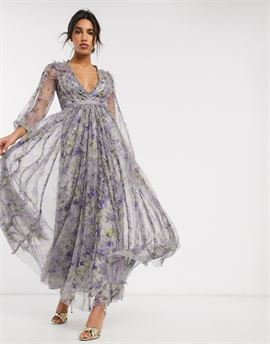 maxi dress with contrast waistband in purple floral print