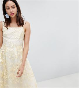 All Over Embroidered Floral Lace Midi Prom Dress