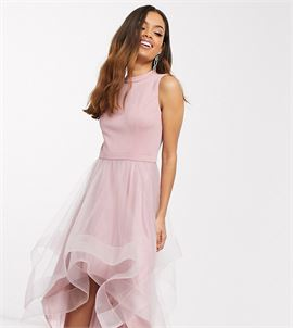 high low organza prom dress in mink