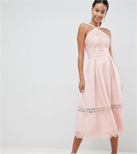 Premium Frill High Neck Prom Skater Dress With Lace Contrast Inserts