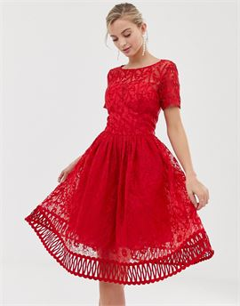 premium lace prom dress with cutwork hem in red