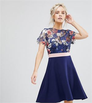 Floral Printed Lace Top Prom Dress